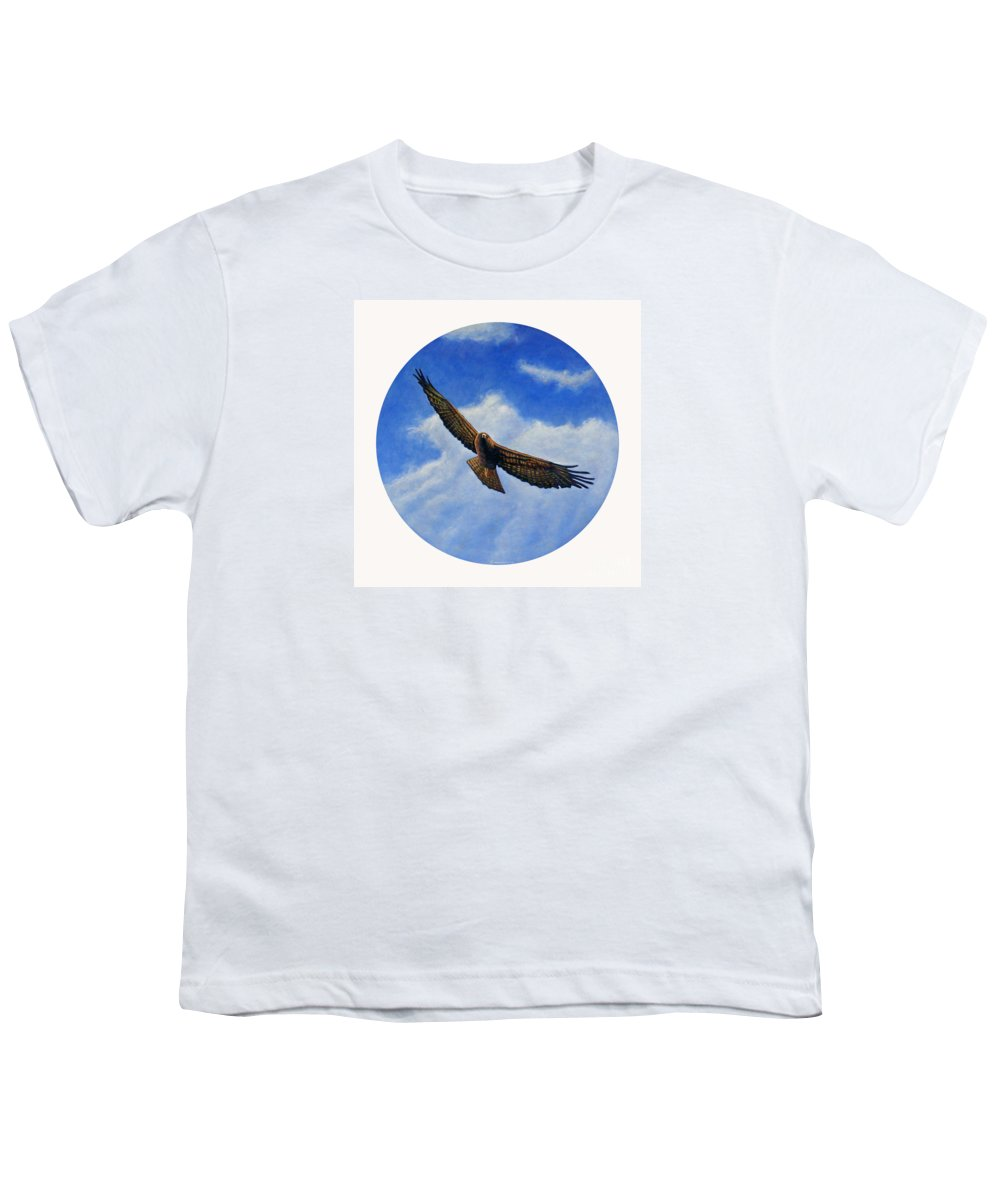 Hawk Youth T-Shirt featuring the painting Spirit In The Wind by Brian Commerford