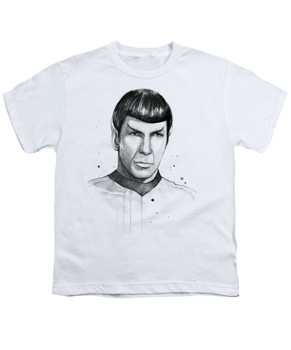 Star Trek Youth T-Shirt featuring the painting Spock Watercolor Portrait by Olga Shvartsur