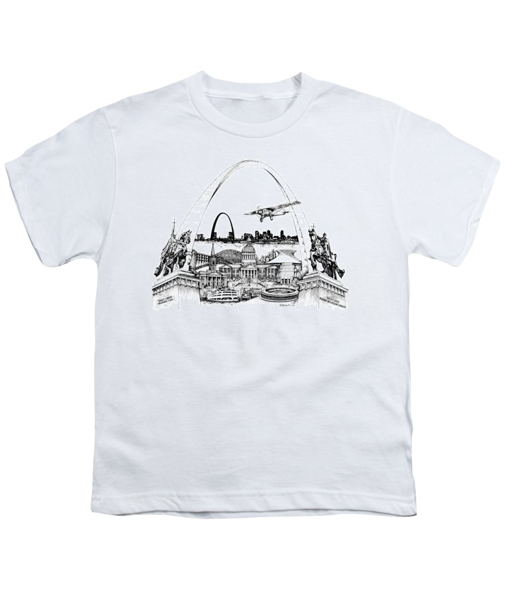 City Drawing Youth T-Shirt featuring the drawing St. Louis Highlights Version 1 by Dennis Bivens