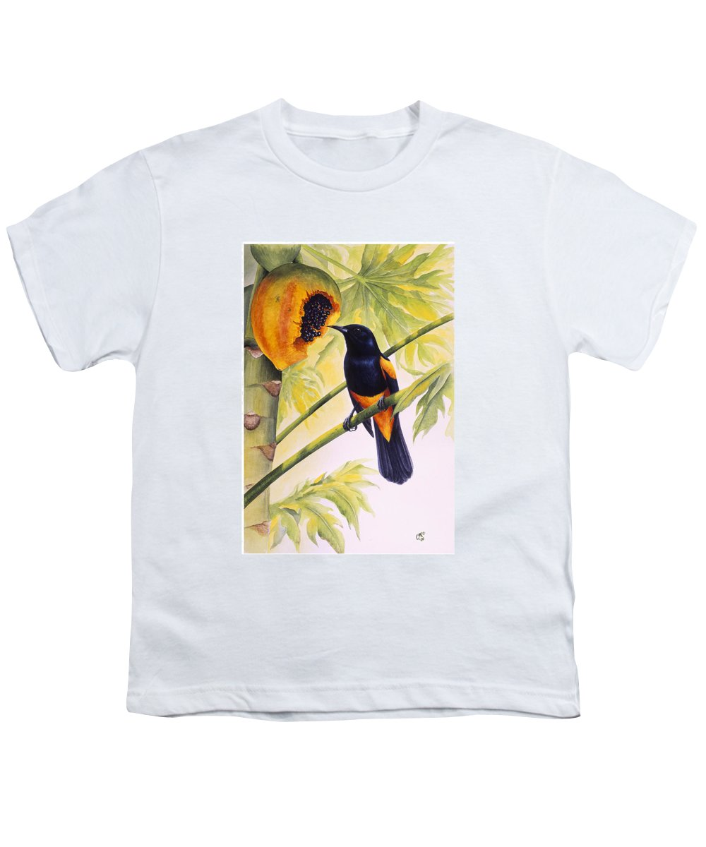 Chris Cox Youth T-Shirt featuring the painting St. Lucia Oriole And Papaya by Christopher Cox