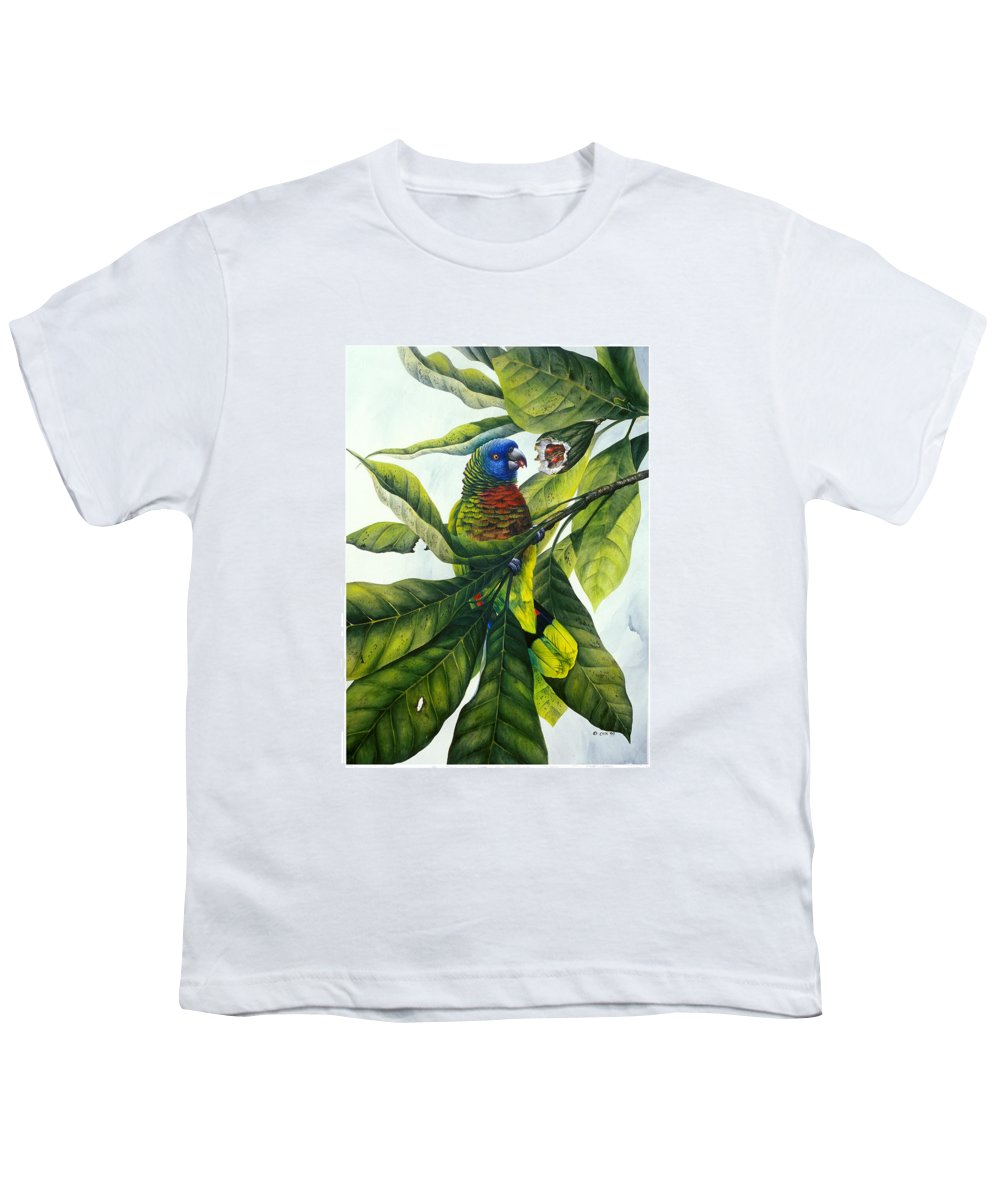 Chris Cox Youth T-Shirt featuring the painting St. Lucia Parrot And Fruit by Christopher Cox
