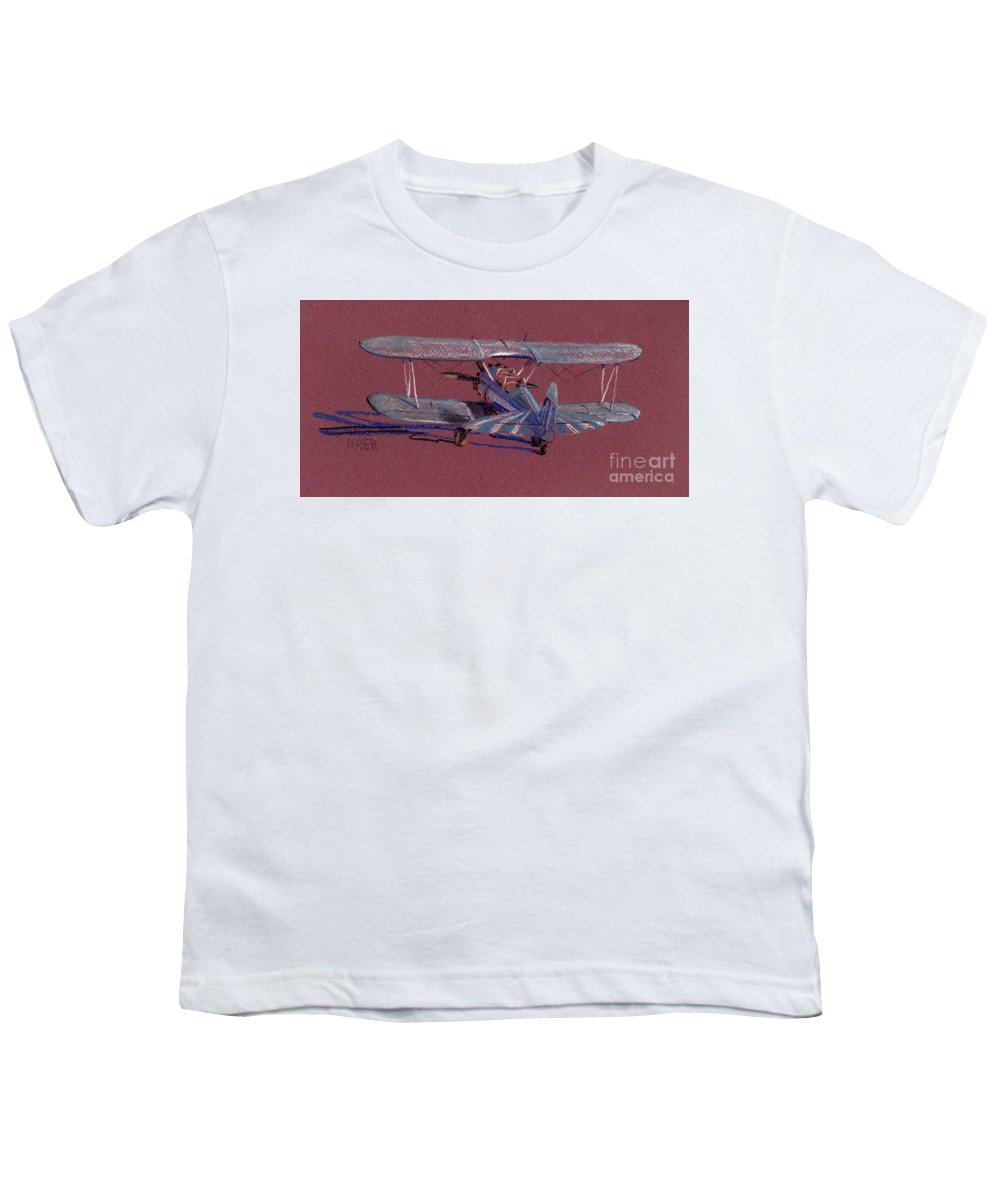 Steerman Biplane Youth T-Shirt featuring the drawing Steerman Biplane by Donald Maier