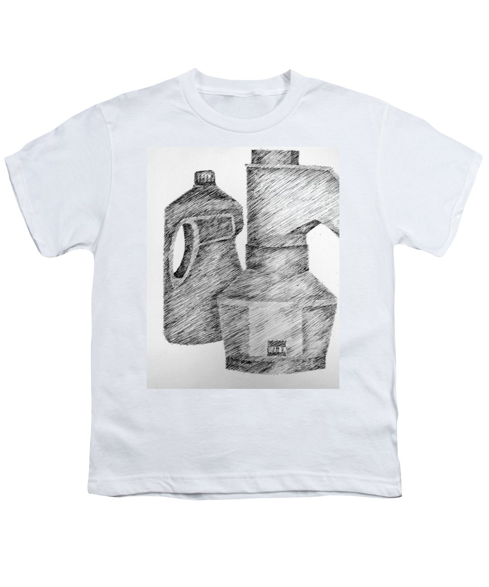 Still Life Youth T-Shirt featuring the drawing Still Life With Popcorn Maker And Laundry Soap Bottle by Michelle Calkins