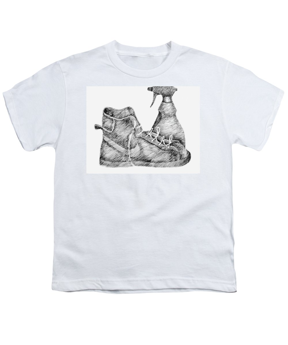 Pen Youth T-Shirt featuring the drawing Still Life With Shoe And Spray Bottle by Michelle Calkins