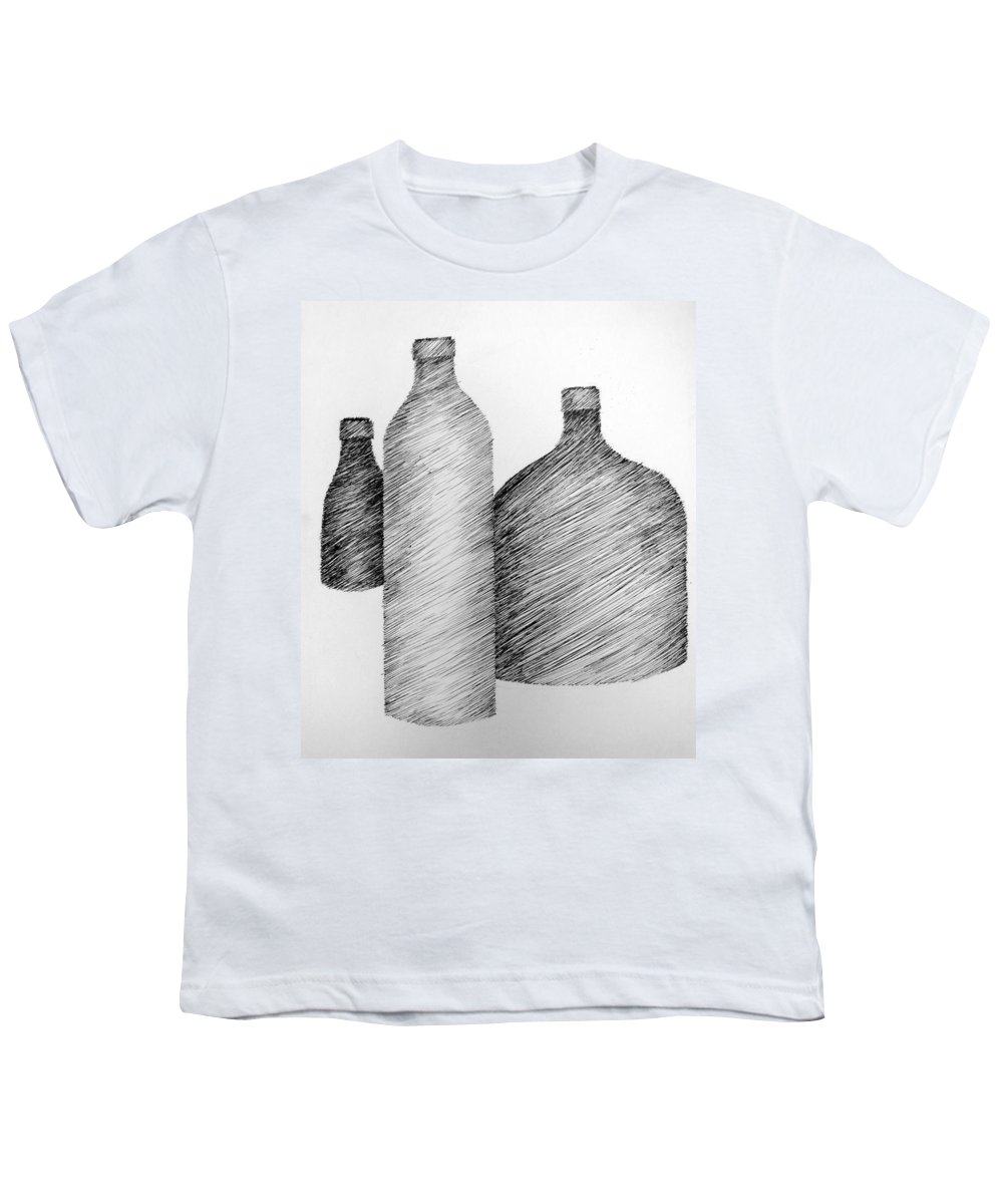 Still Life Youth T-Shirt featuring the drawing Still Life With Three Bottles by Michelle Calkins