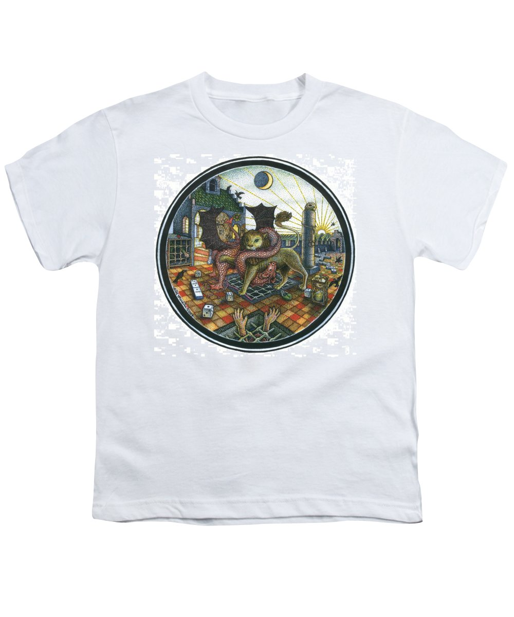Dragon Youth T-Shirt featuring the drawing Strange Reverie by Bill Perkins