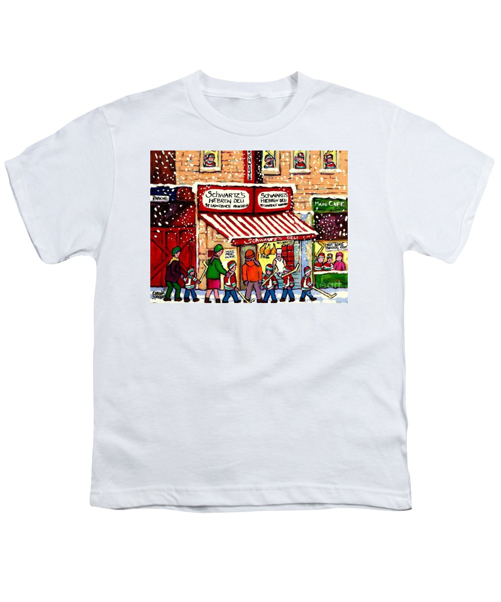 Montreal Youth T-Shirt featuring the painting Sunday Lineup At The Deli by Carole Spandau