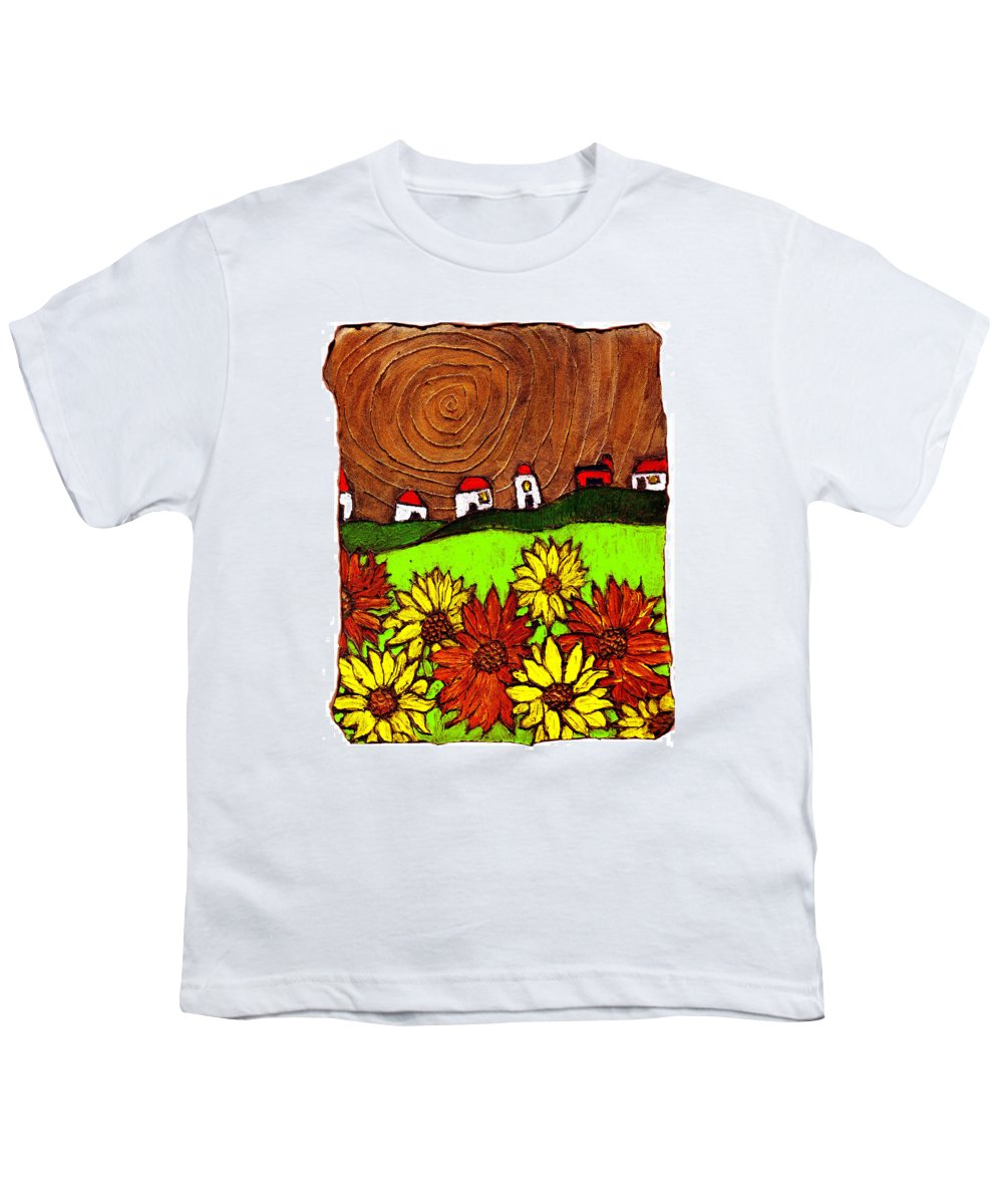Flowers Youth T-Shirt featuring the painting Sunflowers And Fields by Wayne Potrafka