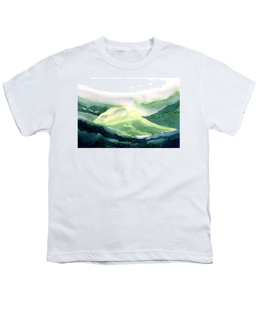 Landscape Youth T-Shirt featuring the painting Sunlit Mountain by Anil Nene