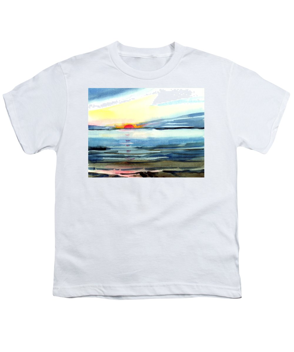 Landscape Seascape Ocean Water Watercolor Sunset Youth T-Shirt featuring the painting Sunset by Anil Nene