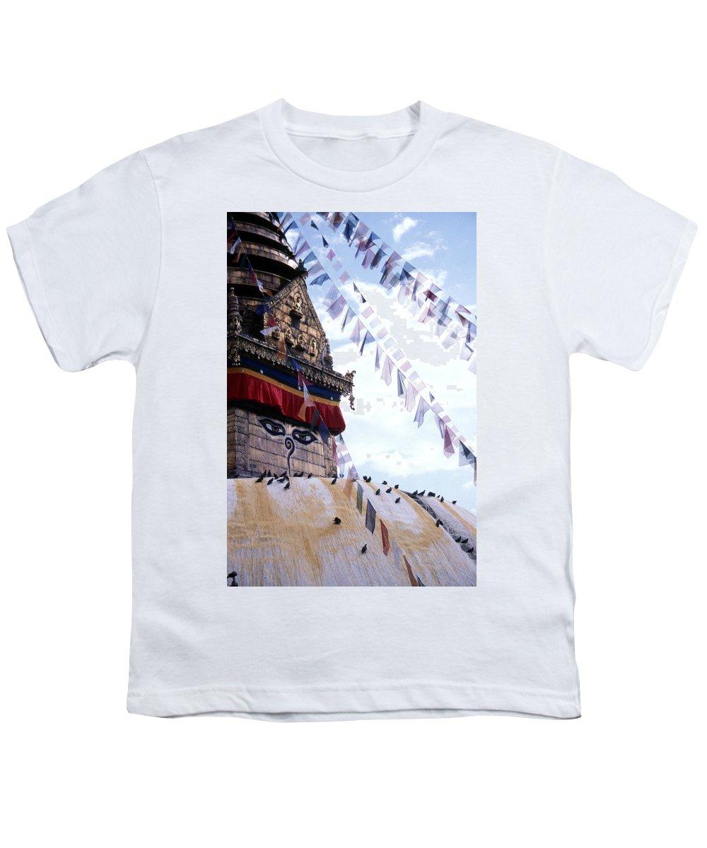 Swayambhunath Stupa Youth T-Shirt featuring the photograph Swayambhunath II by Patrick Klauss