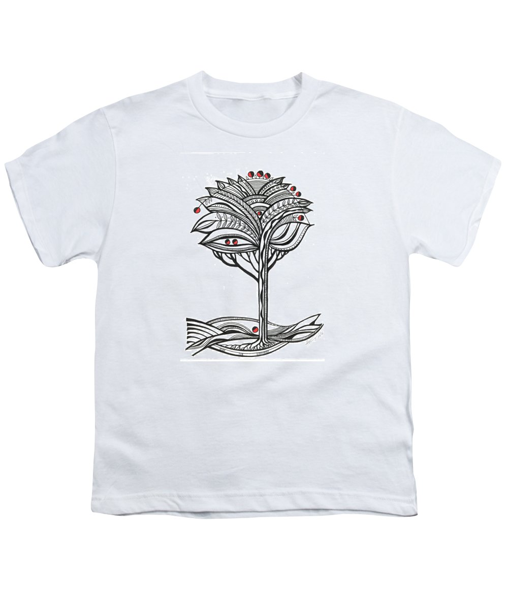 Abstract Youth T-Shirt featuring the drawing The Apple Tree by Aniko Hencz