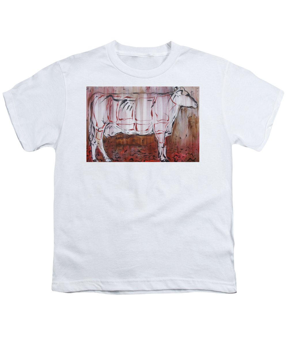 Cow Youth T-Shirt featuring the painting The Giver by Julie Fischer