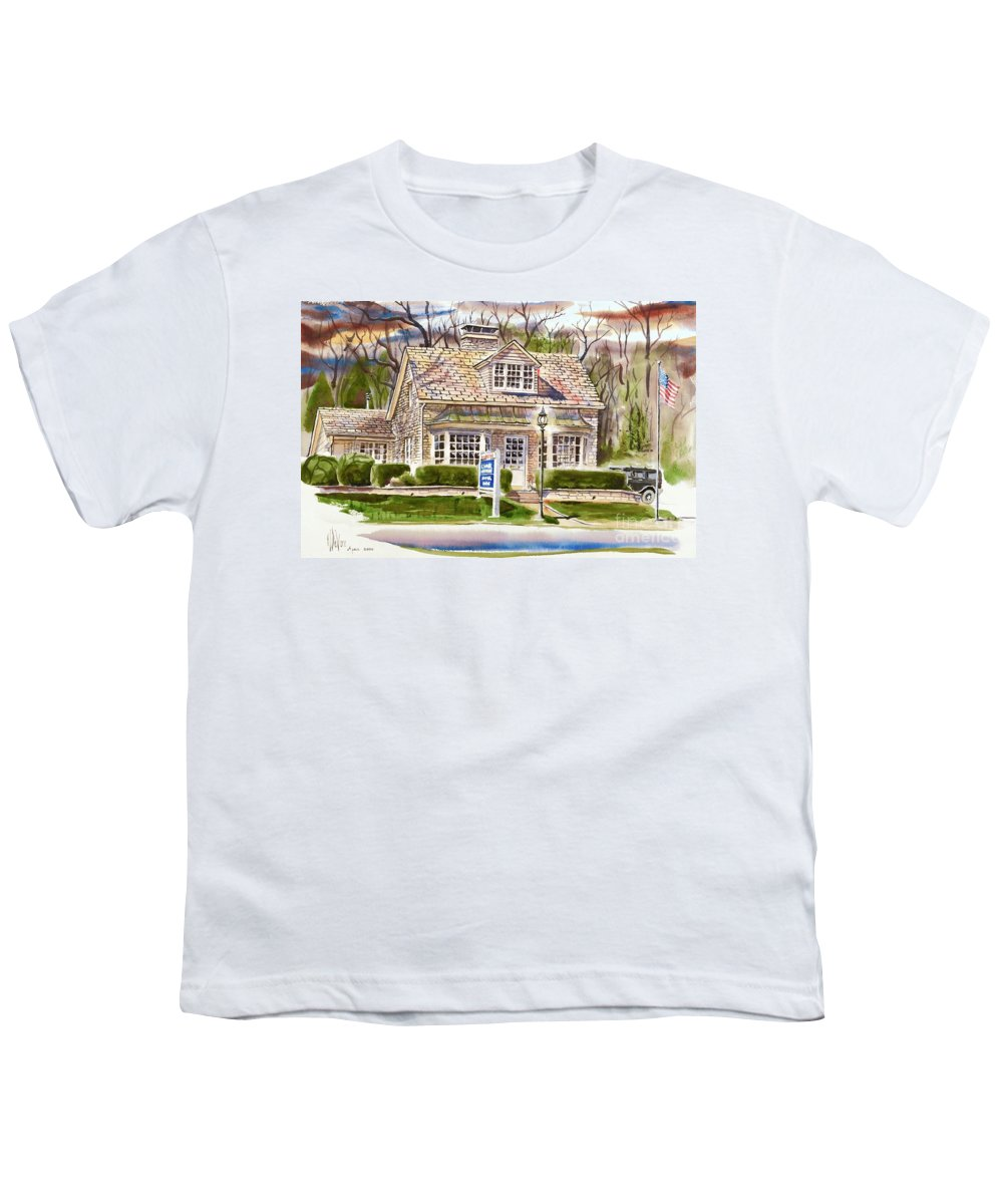 The Greystone Inn In Brigadoon Youth T-Shirt featuring the painting The Greystone Inn In Brigadoon by Kip DeVore
