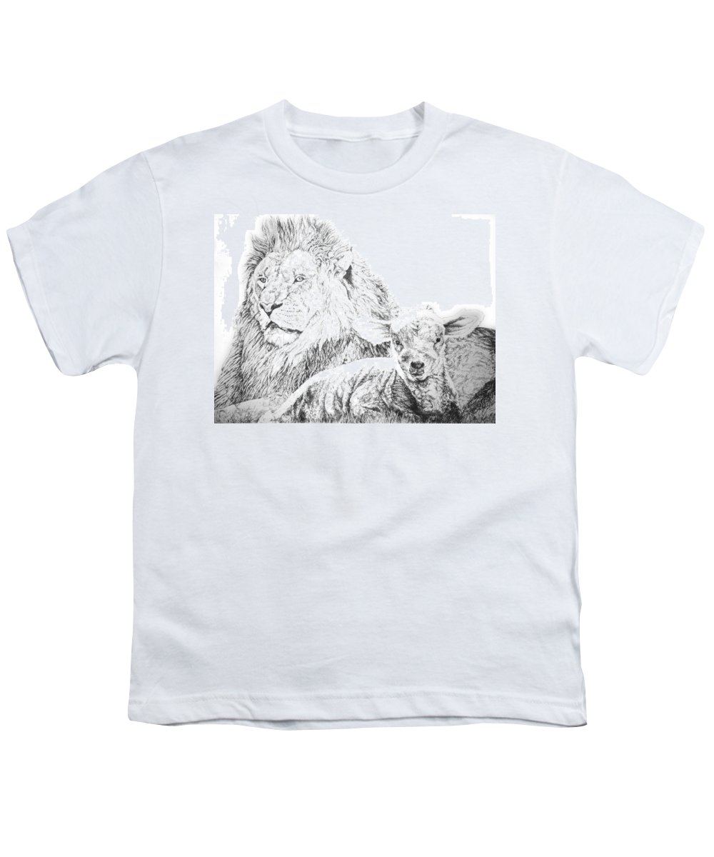 Lion Youth T-Shirt featuring the drawing The Lion And The Lamb by Bryan Bustard