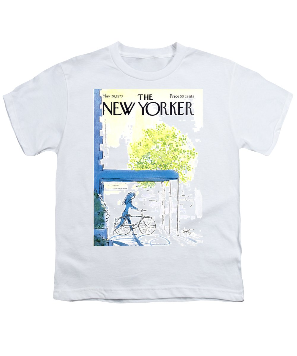Bicycle Youth T-Shirt featuring the painting The New Yorker Cover - May 26th, 1973 by Arthur Getz