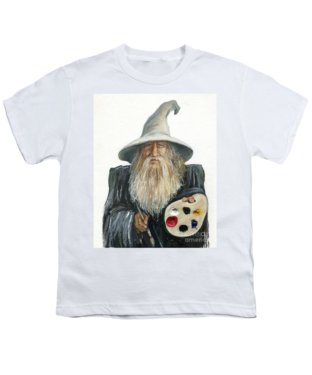 Wizard Youth T-Shirt featuring the painting The Painting Wizard by J W Baker