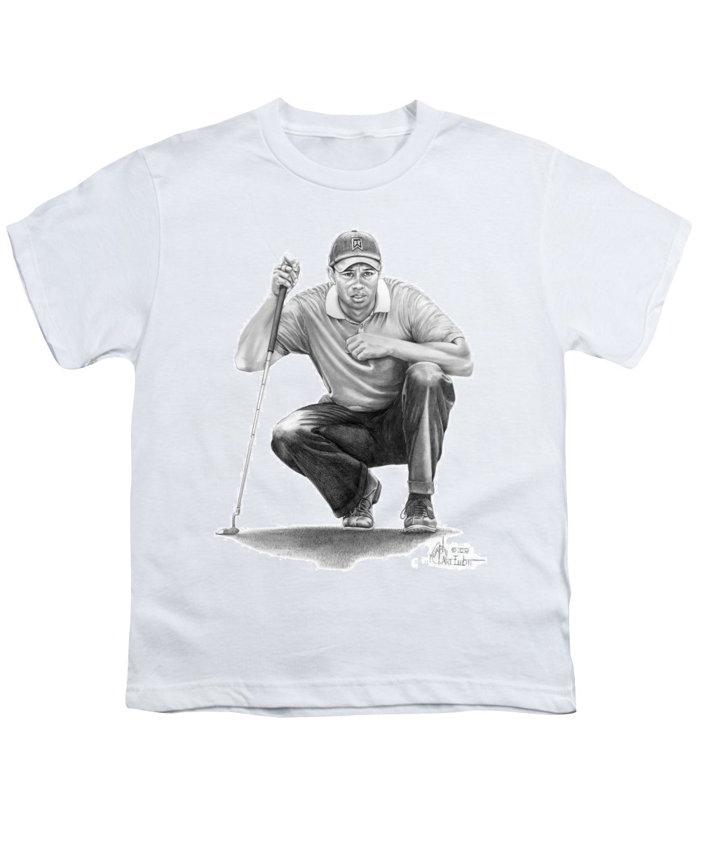 Pencil Youth T-Shirt featuring the drawing Tiger Woods Crouching Tiger by Murphy Elliott