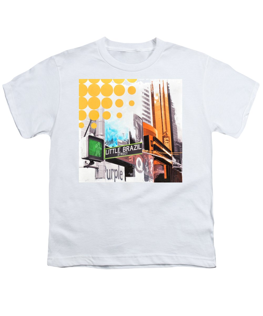 Ny Youth T-Shirt featuring the painting Times Square Little Brazil by Jean Pierre Rousselet
