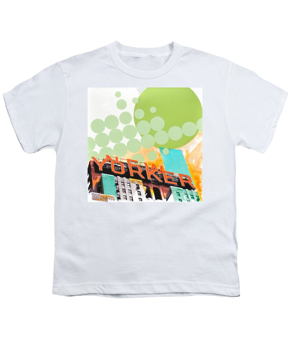 Ny Youth T-Shirt featuring the painting Times Square New Yorker by Jean Pierre Rousselet