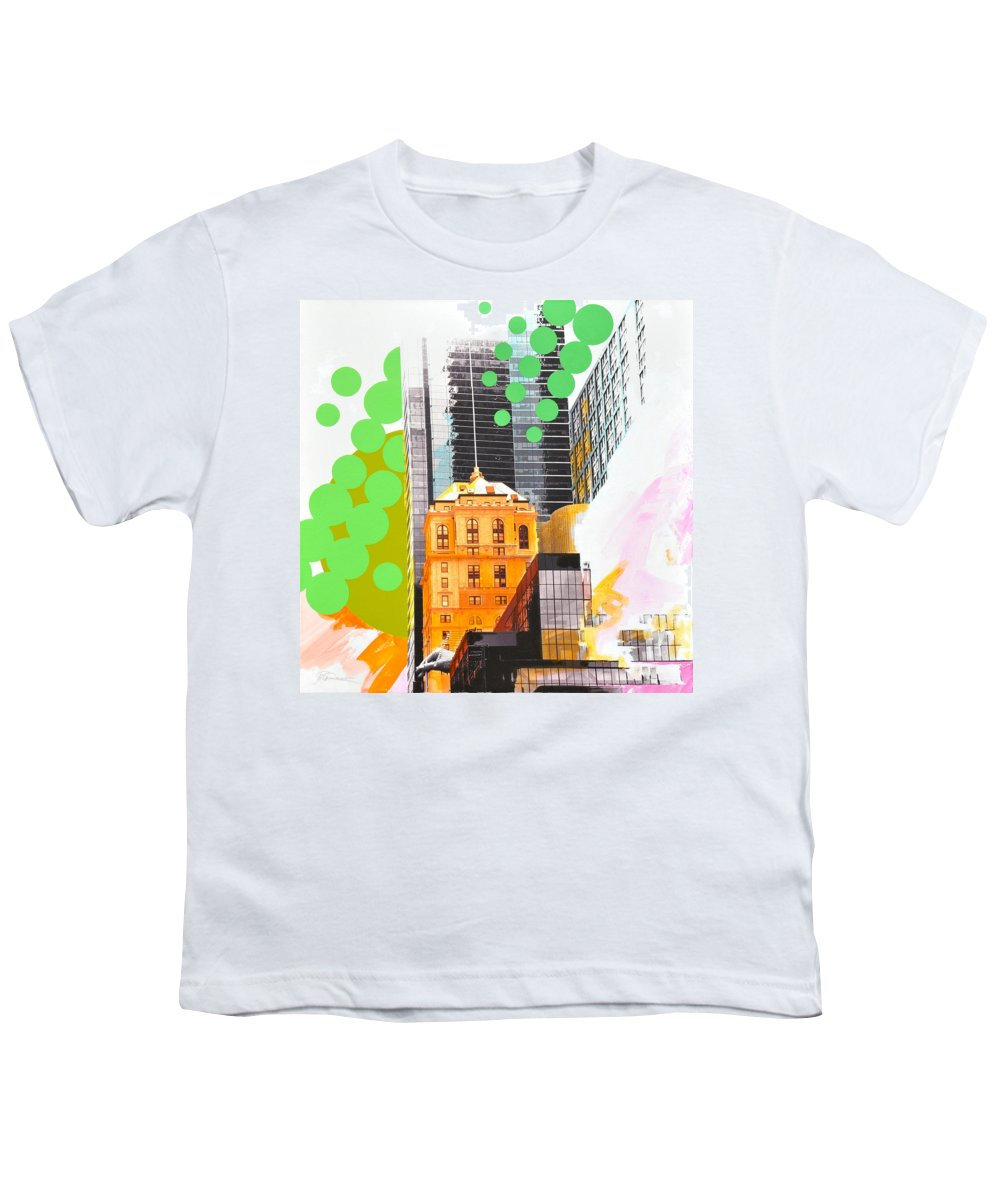 Ny Youth T-Shirt featuring the painting Times Square Ny Advertise by Jean Pierre Rousselet
