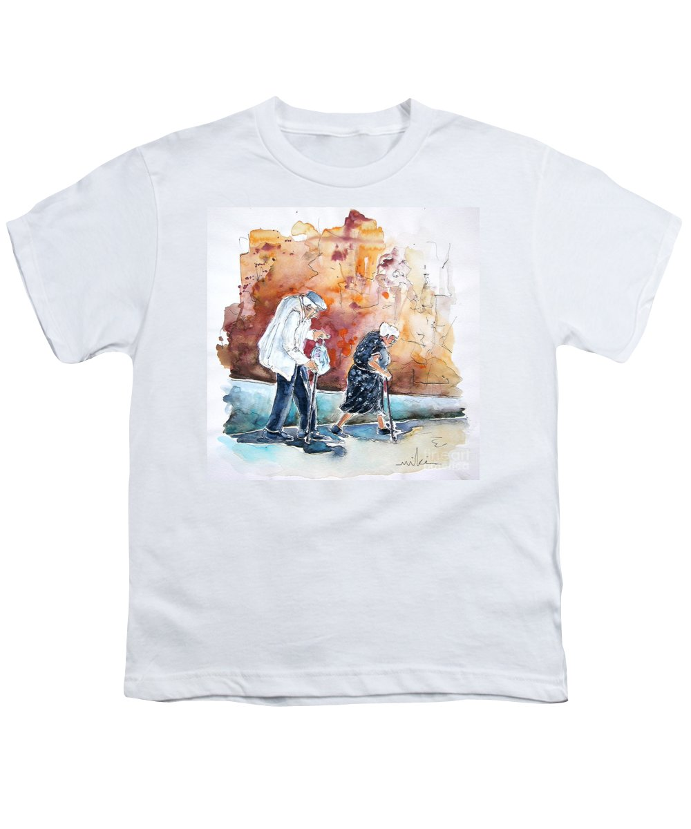 Portugal Paintings Youth T-Shirt featuring the painting Together Old In Portugal 01 by Miki De Goodaboom