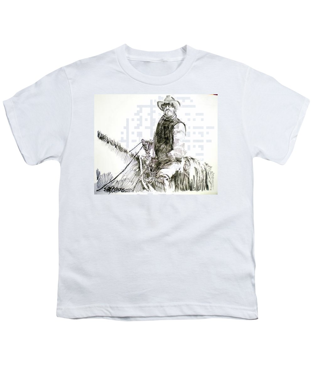 Trail Boss Youth T-Shirt featuring the drawing Trail Boss by Seth Weaver