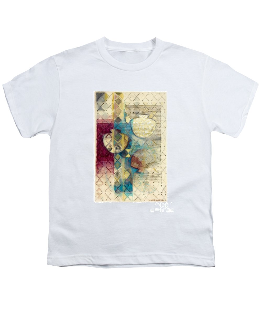 Mixed-media Youth T-Shirt featuring the painting Trans Xs No 1 by Kerryn Madsen- Pietsch