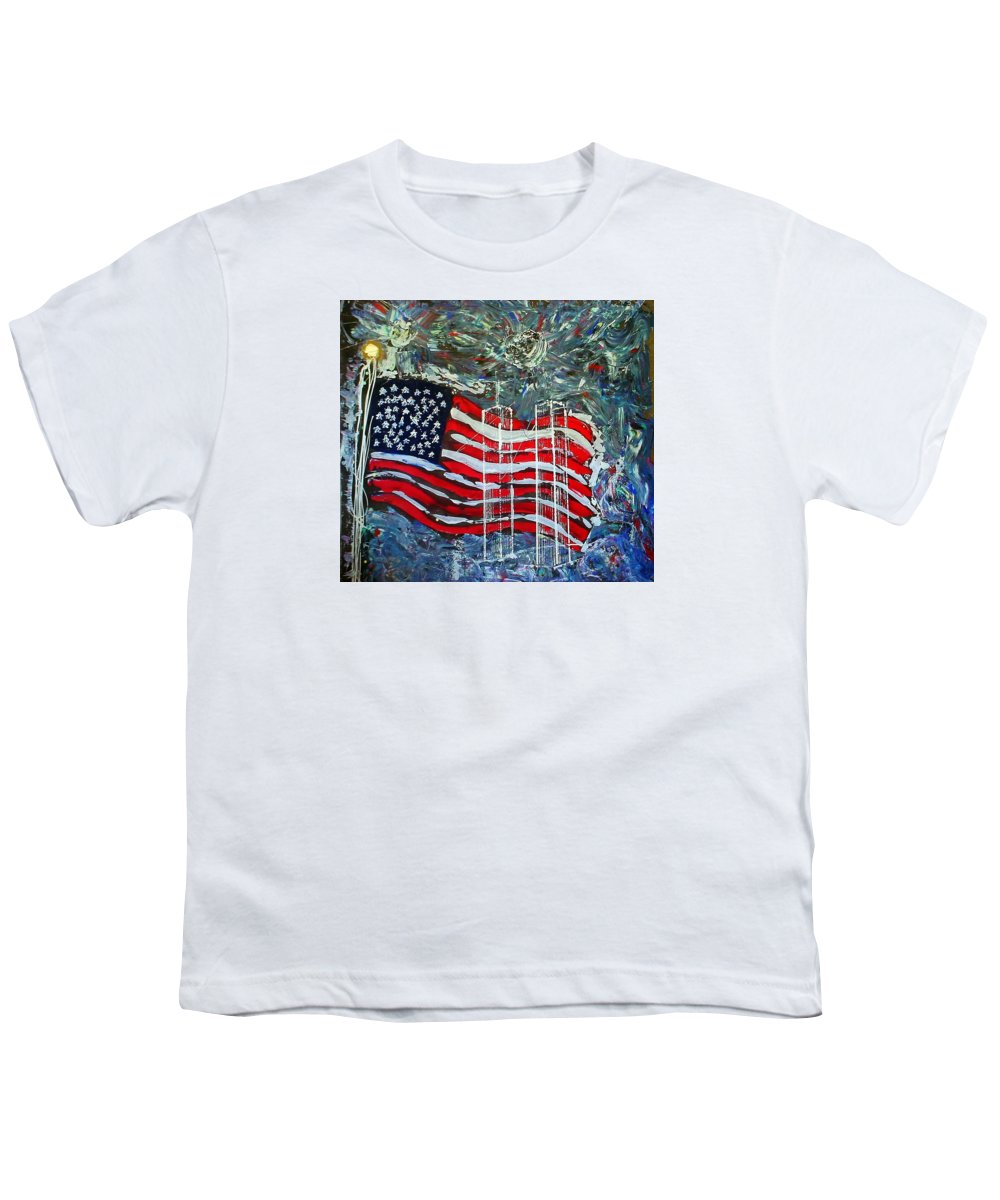 American Flag Youth T-Shirt featuring the mixed media Tribute by J R Seymour