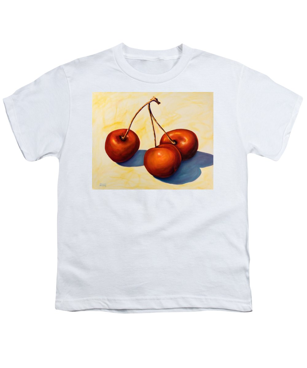 Cherries Youth T-Shirt featuring the painting Trilogy by Shannon Grissom