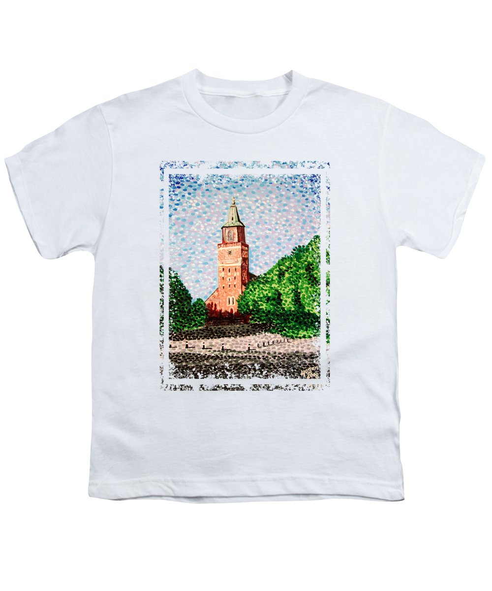 Finnish Youth T-Shirt featuring the painting Turku Cathedral by Alan Hogan