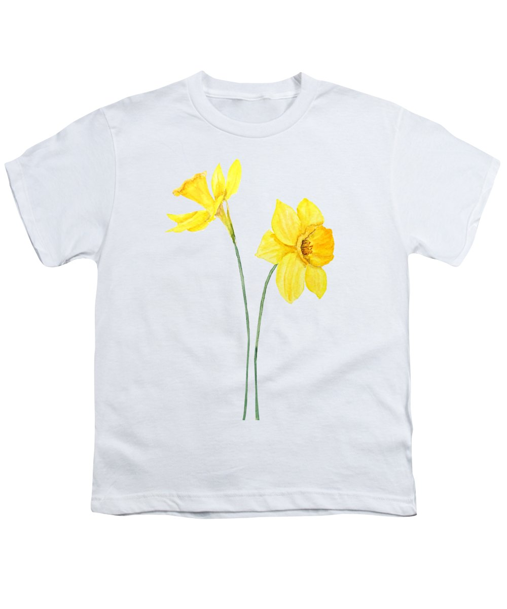 Two Botanical Yellow Daffodils Watercolor Youth T Shirt For Sale By