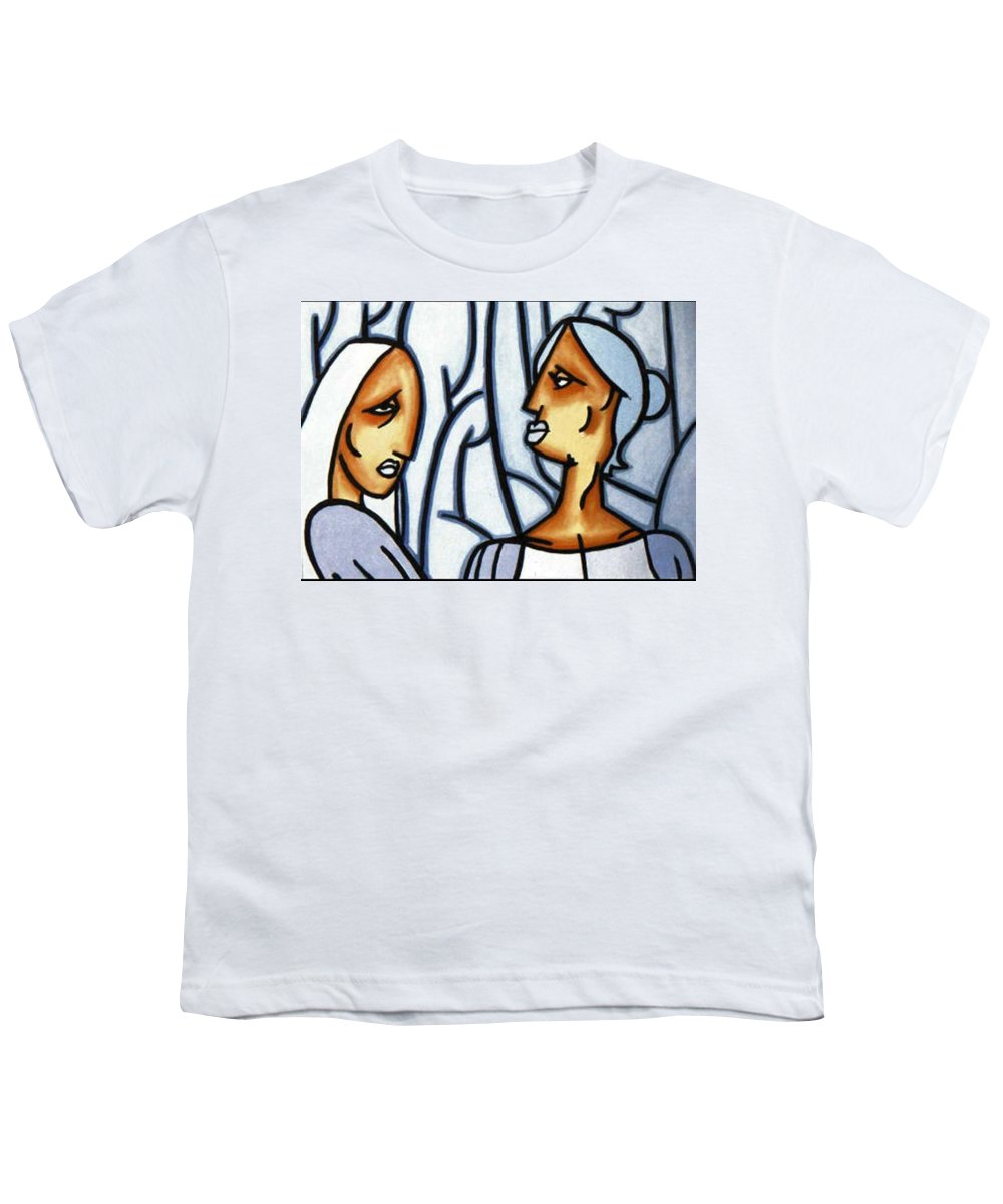 Portrait Youth T-Shirt featuring the painting Two Ladies by Thomas Valentine