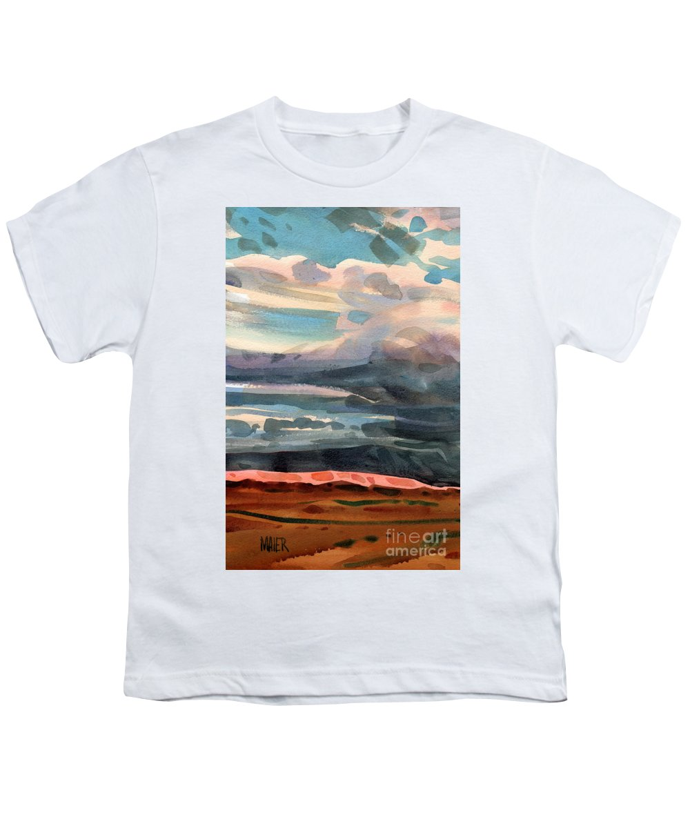 Western Landscape Youth T-Shirt featuring the painting Utah Skyline by Donald Maier