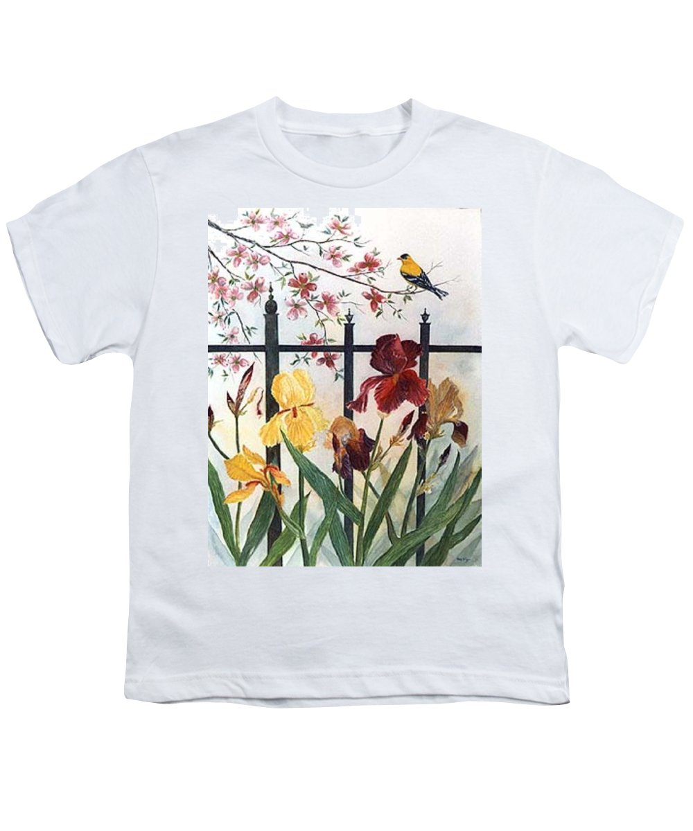 Irises; American Goldfinch; Dogwood Tree Youth T-Shirt featuring the painting Victorian Garden by Ben Kiger