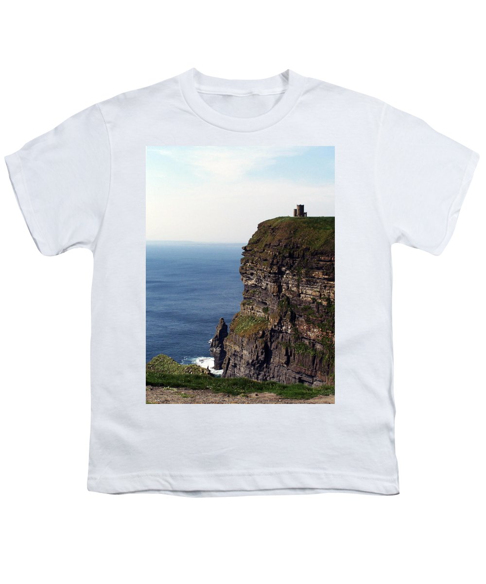 Irish Youth T-Shirt featuring the photograph View Of Aran Islands And Cliffs Of Moher County Clare Ireland by Teresa Mucha