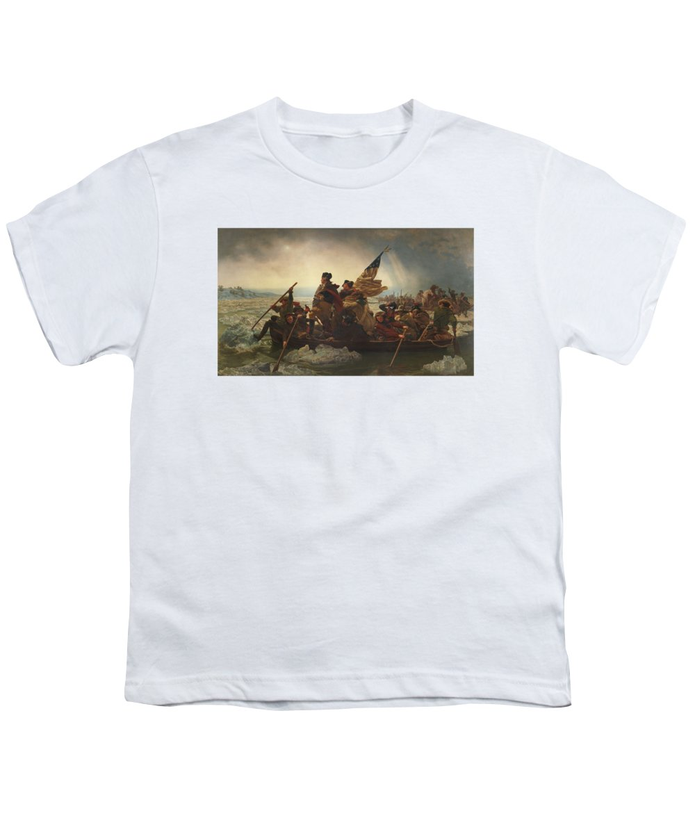 George Washington Youth T-Shirt featuring the painting Washington Crossing The Delaware by War Is Hell Store