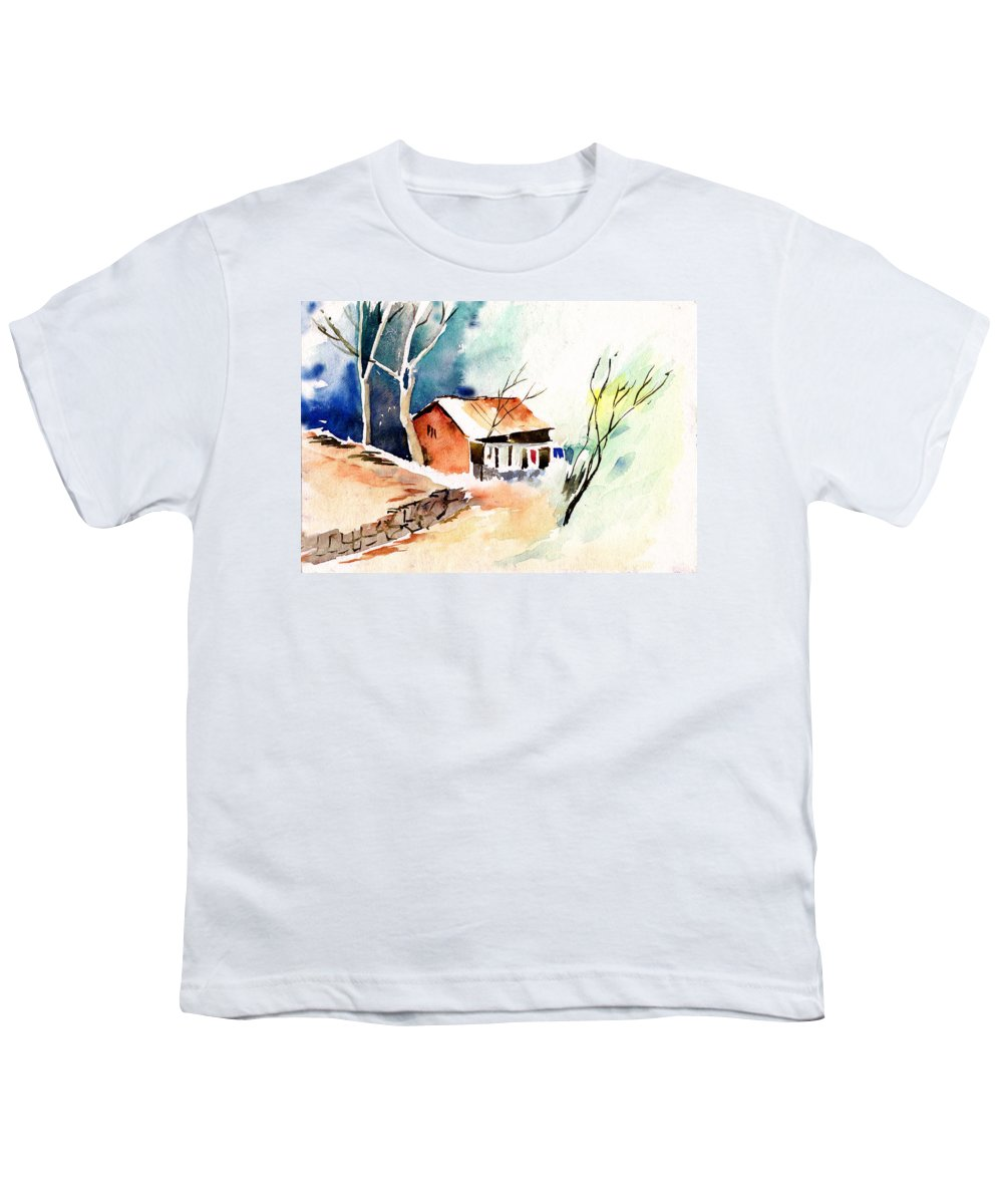 Nature Youth T-Shirt featuring the painting Weekend House by Anil Nene