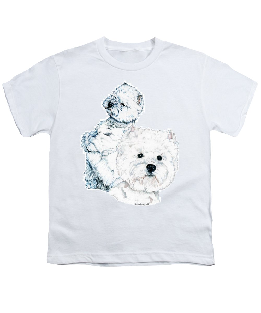 West Highland White Terrier Youth T-Shirt featuring the drawing West Highland White Terriers by Kathleen Sepulveda