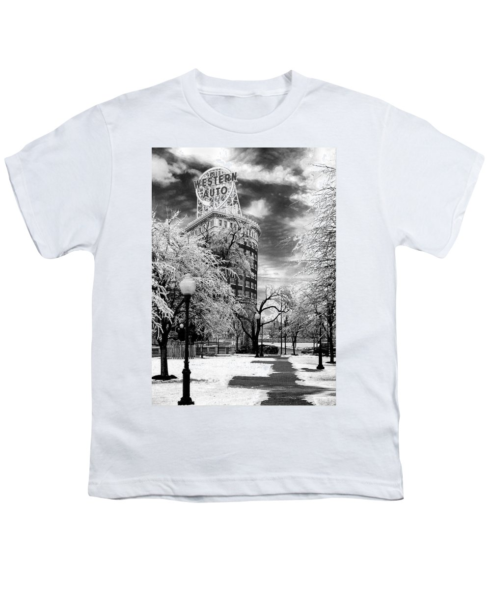 Western Auto Kansas City Youth T-Shirt featuring the photograph Western Auto In Winter by Steve Karol
