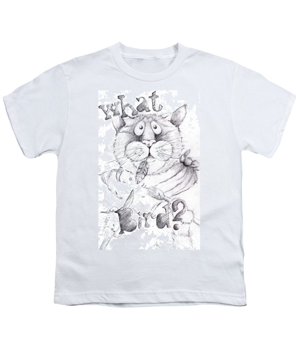 Charity Youth T-Shirt featuring the drawing What Bird by Mary-Lee Sanders