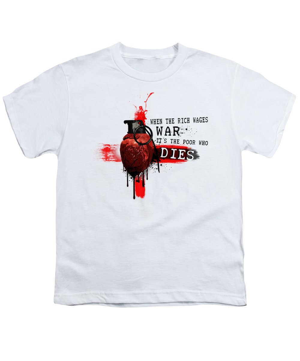 Trash Polka Youth T-Shirt featuring the digital art When The Rich Wages War... by Nicklas Gustafsson