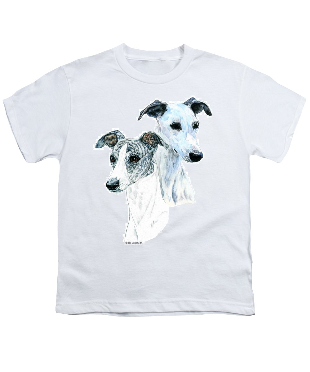 Whippet Youth T-Shirt featuring the painting Whippet Pair by Kathleen Sepulveda