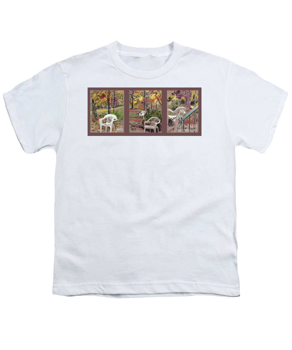 Pastel Youth T-Shirt featuring the drawing White Chairs And Birdhouses 1 by Donald Maier