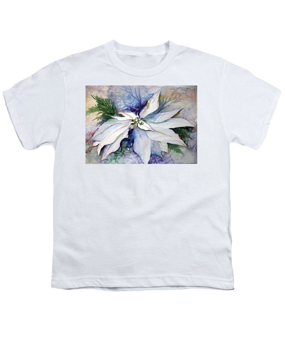 Floral Youth T-Shirt featuring the painting White Poinsettia by Mindy Newman