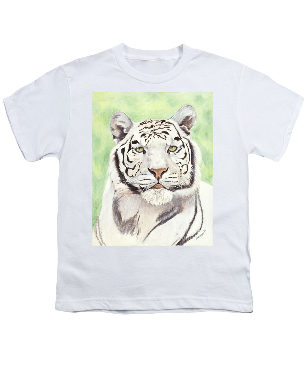 Tiger Youth T-Shirt featuring the painting White Silence by Shawn Stallings