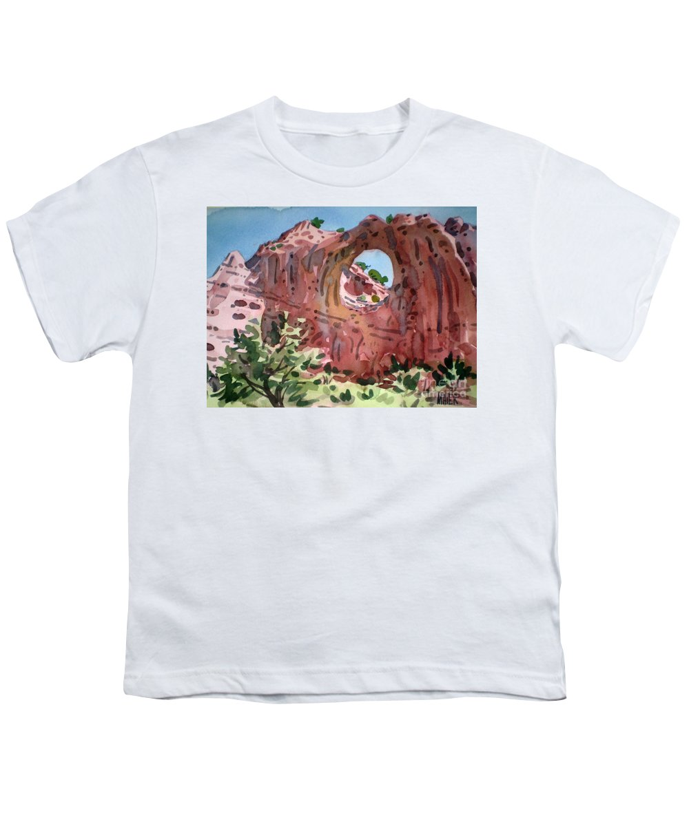 Navajo Tribal Park Youth T-Shirt featuring the painting Window Rock by Donald Maier
