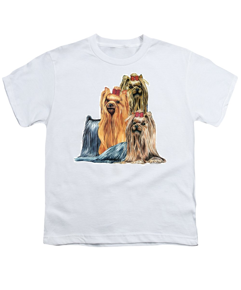Yorkshire Terrier Youth T-Shirt featuring the drawing Yorkshire Terriers by Kathleen Sepulveda
