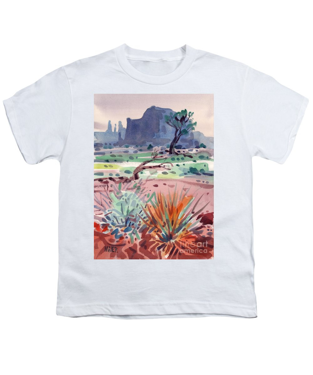 Monument Valley Youth T-Shirt featuring the painting Yucca And Buttes by Donald Maier
