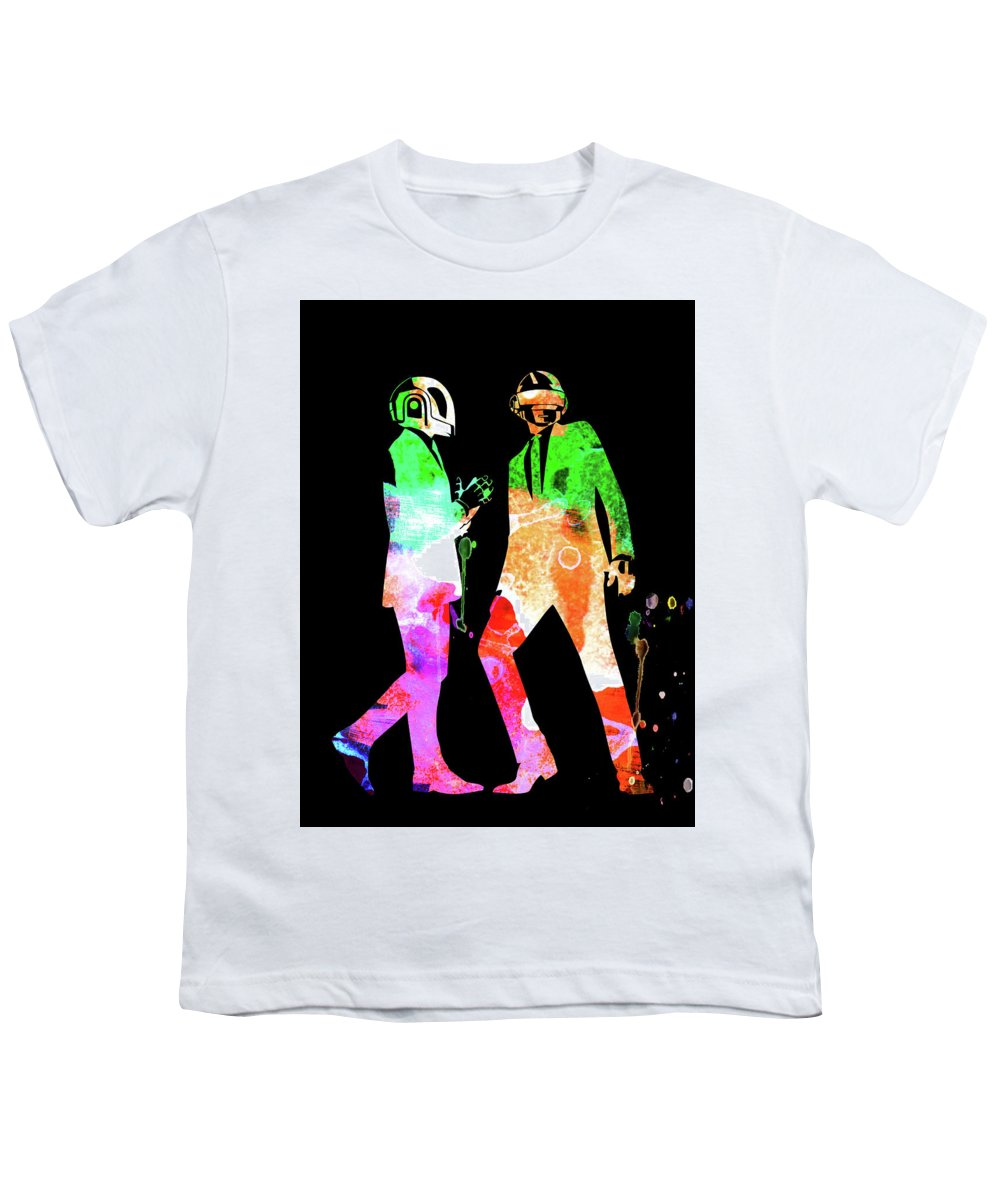 Daft Punk Youth T-Shirt featuring the mixed media Daft Punk Watercolor 1 by Naxart Studio